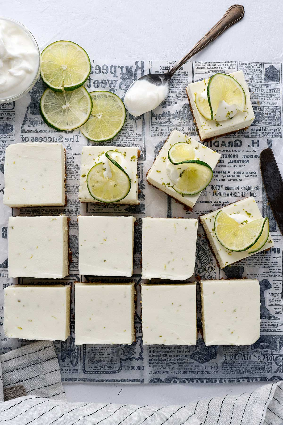 Decorating no-bake lime cheesecake bars