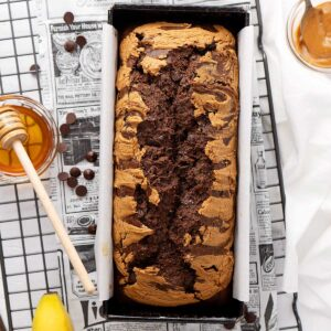 Healthy Chocolate Peanut Butter Banana Bread view from top