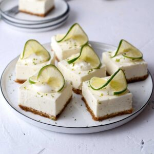 No-bake lime cheesecake bars on a plate