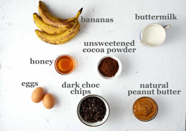 healthy banana bread ingredients on a table