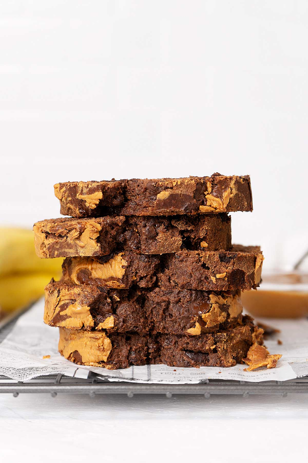 stacked slices of healthy banana bread