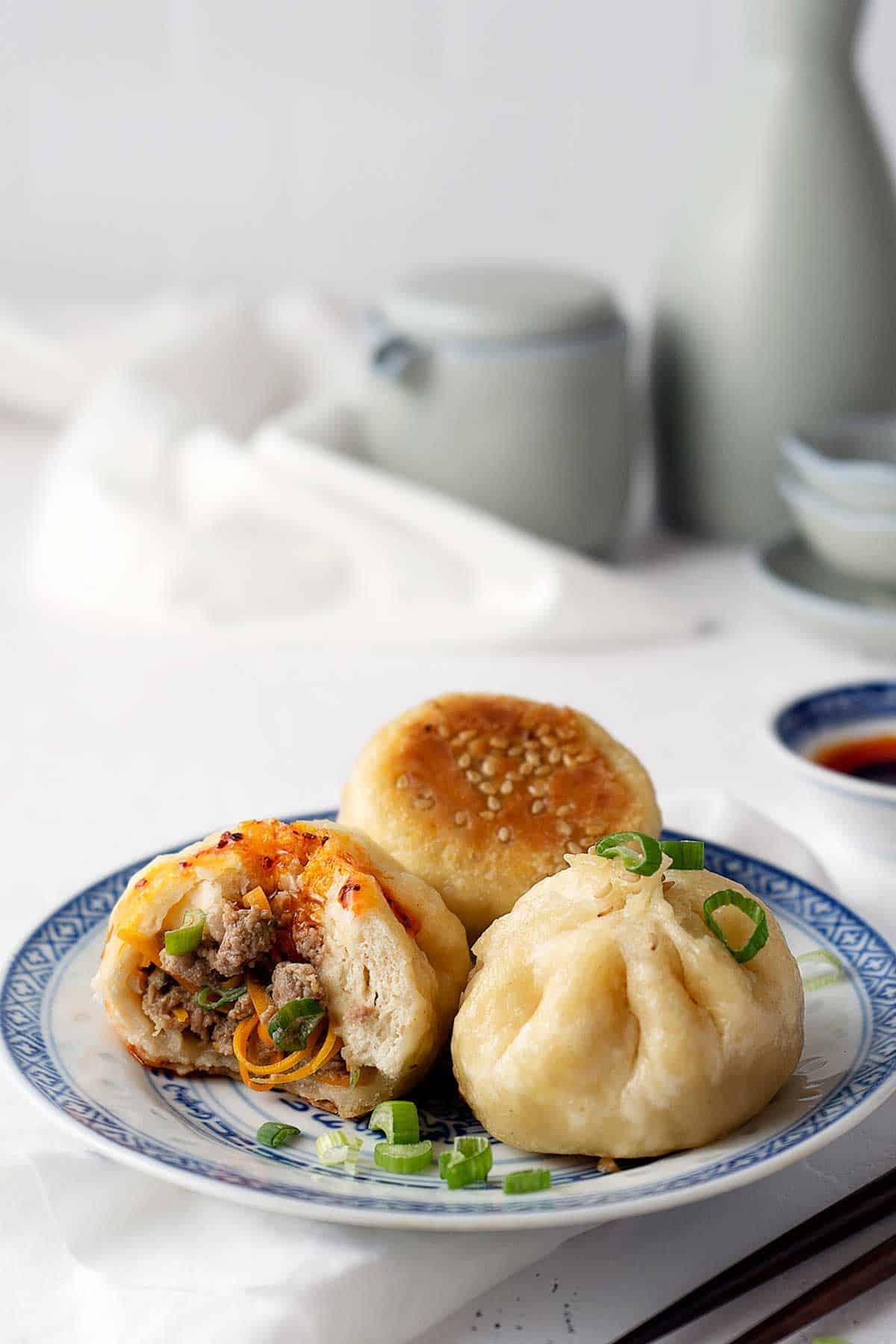 Partially eaten pan-fried baozi