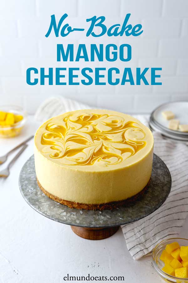 Easy no-bake mango cheesecake recipe with smooth creamy texture and delicious mango cheese flavour enriched with white chocolate. What more could you ask for a summer dessert?