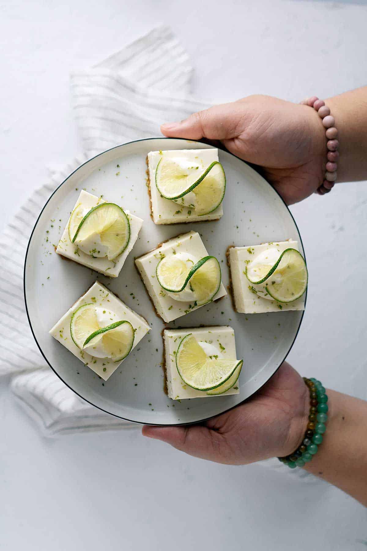 Serving no-bake lime cheesecake bars