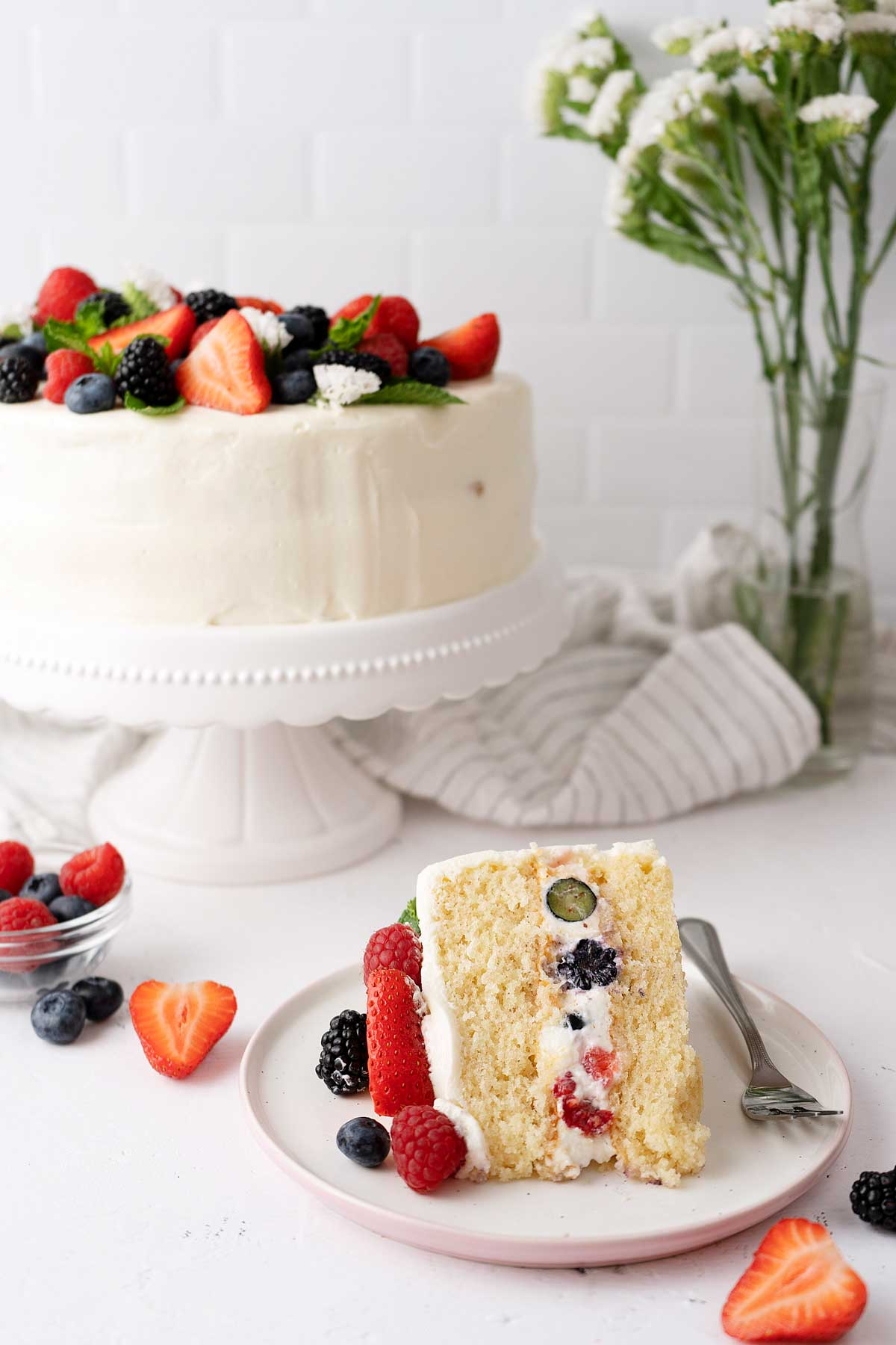 Portion of berry cake on a plate
