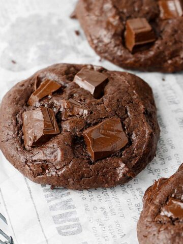 Double Chocolate Fudge Cookies on a cooling rack