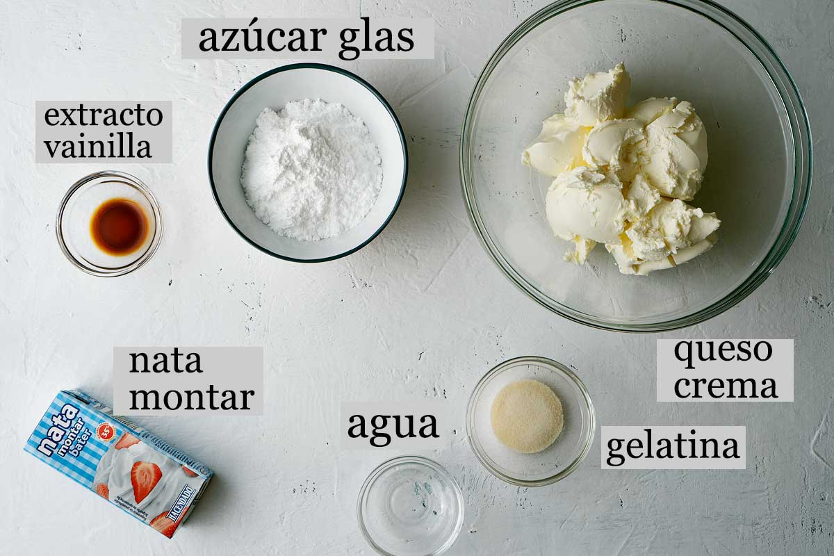 Ingredientes frosting queso crema