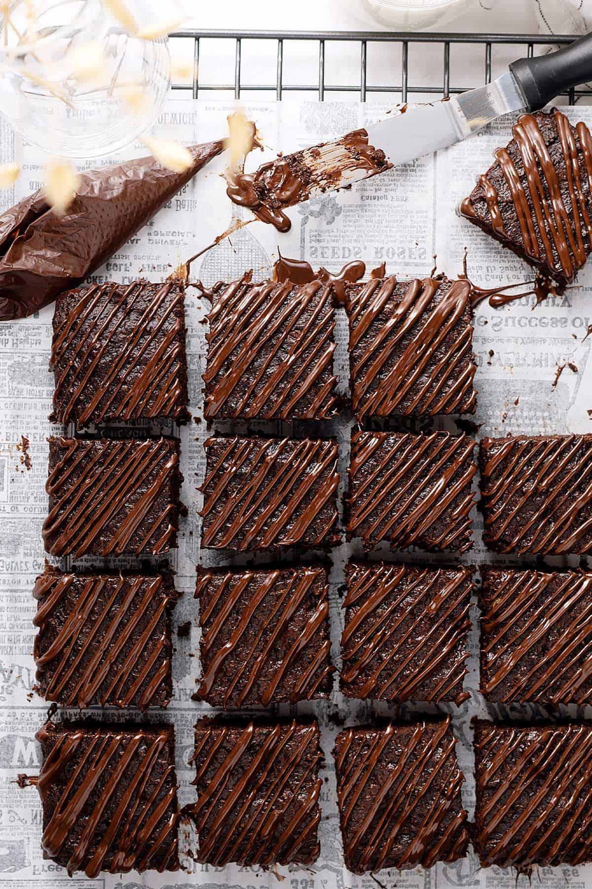 overhead view of brownies