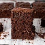 3 stacked eggless zucchini brownies