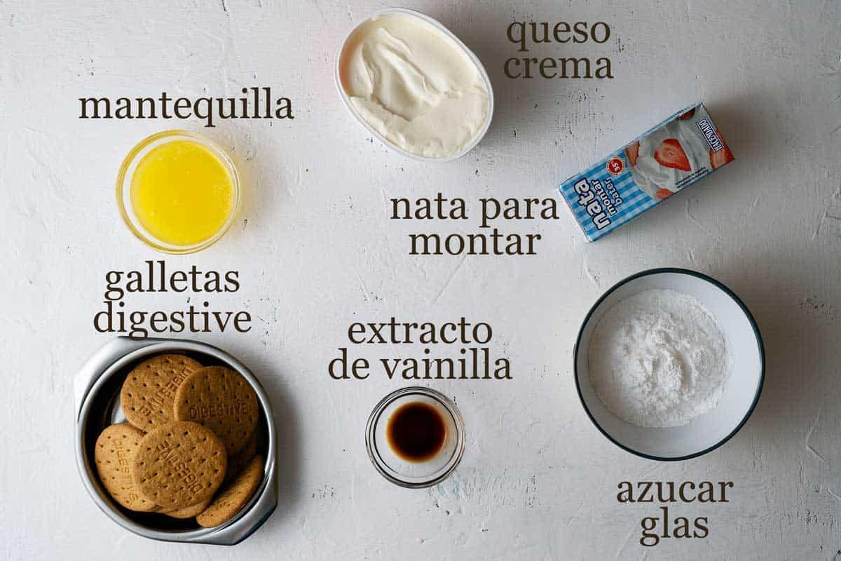 Ingredientes para cheesecake de vainilla sin horno