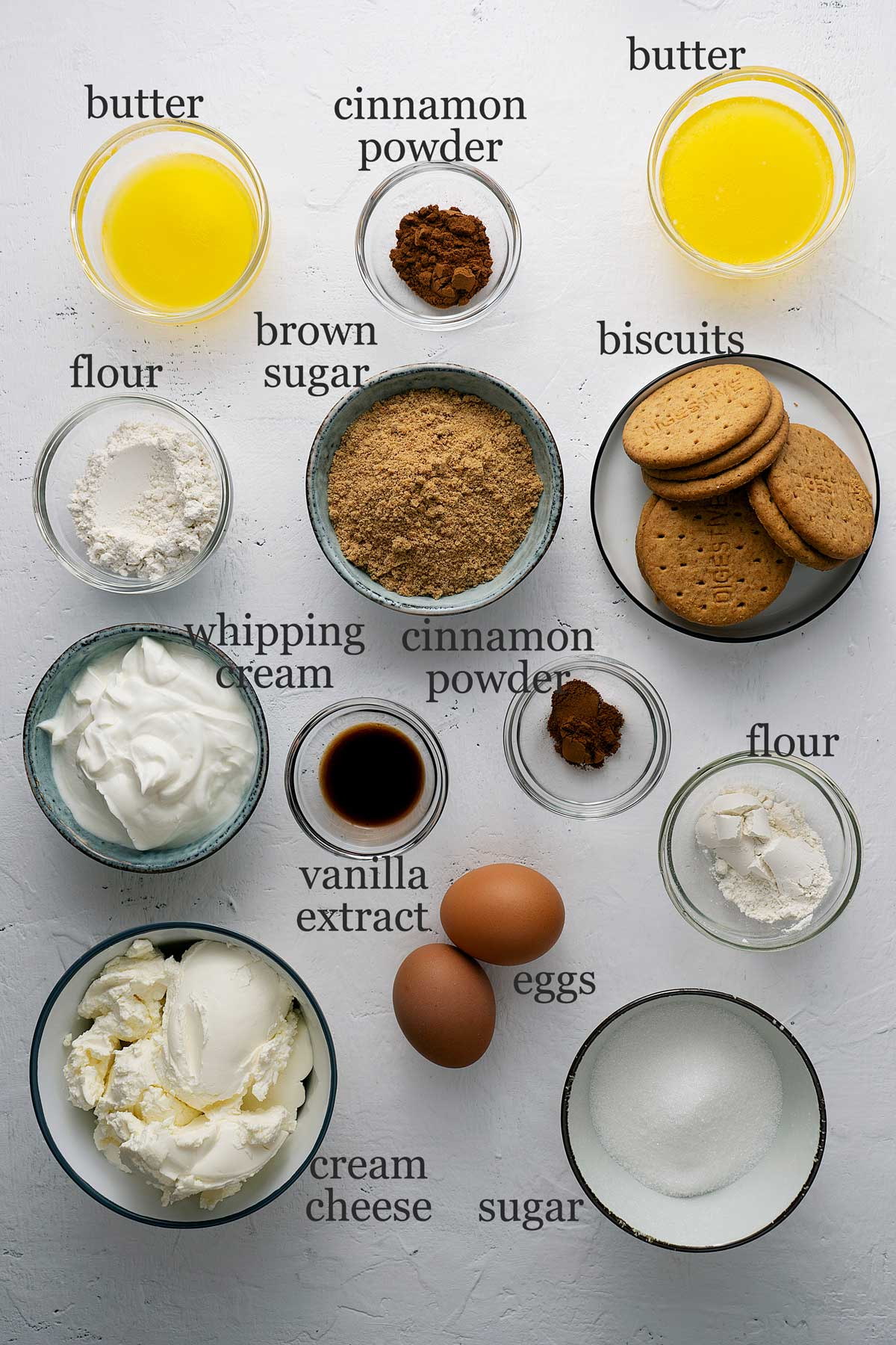 ingredients for cinnamon roll cheesecake.