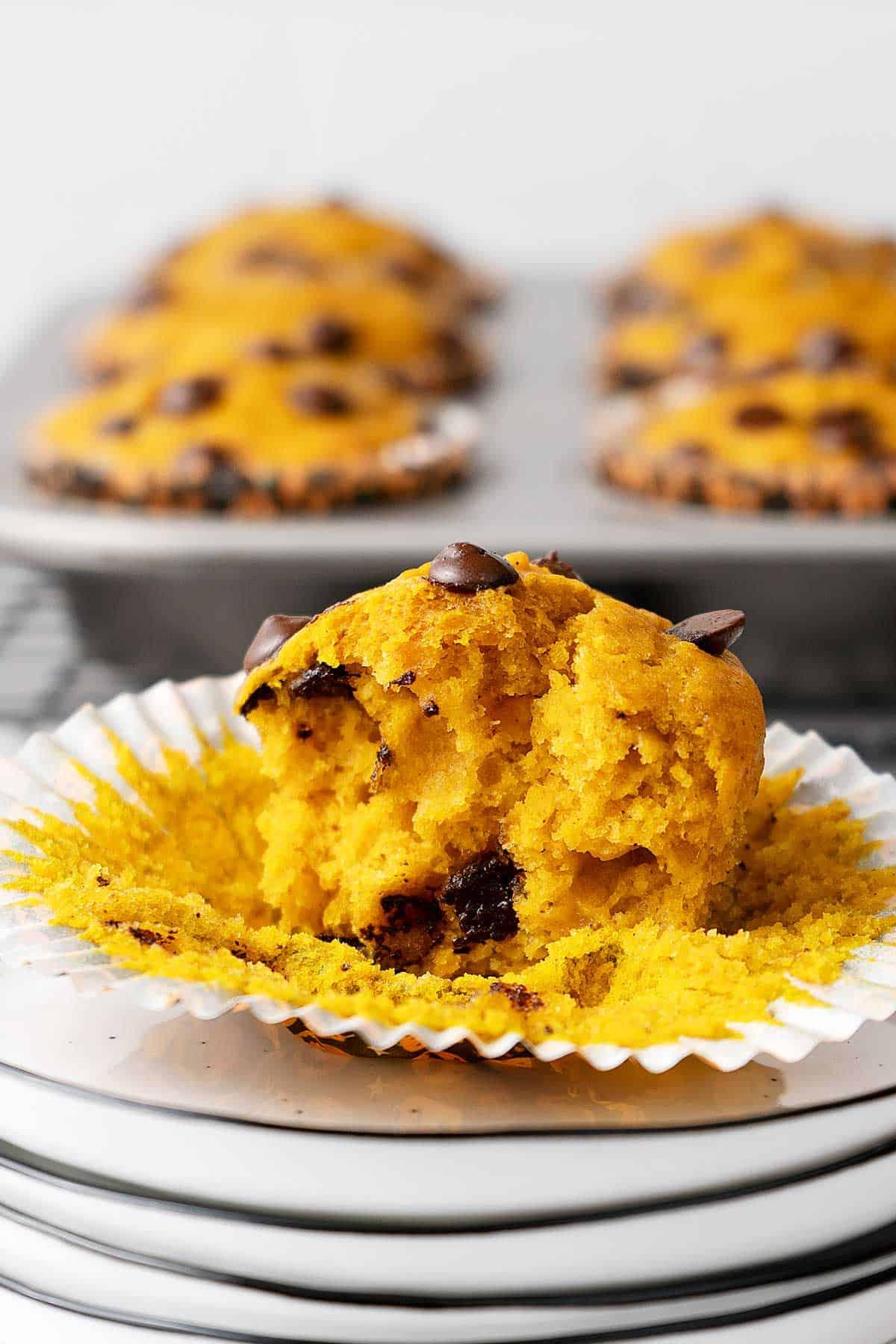 half eaten pumpkin muffin.