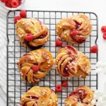 raspberry twisted buns view from top.