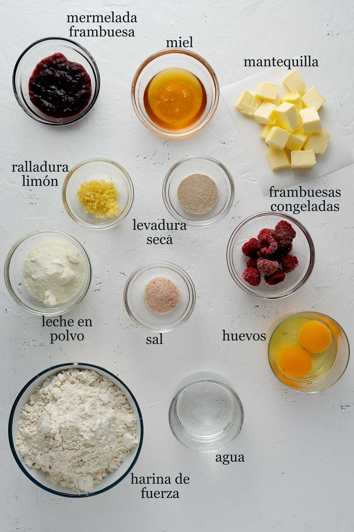 Ingredientes para bollos de frambuesa.