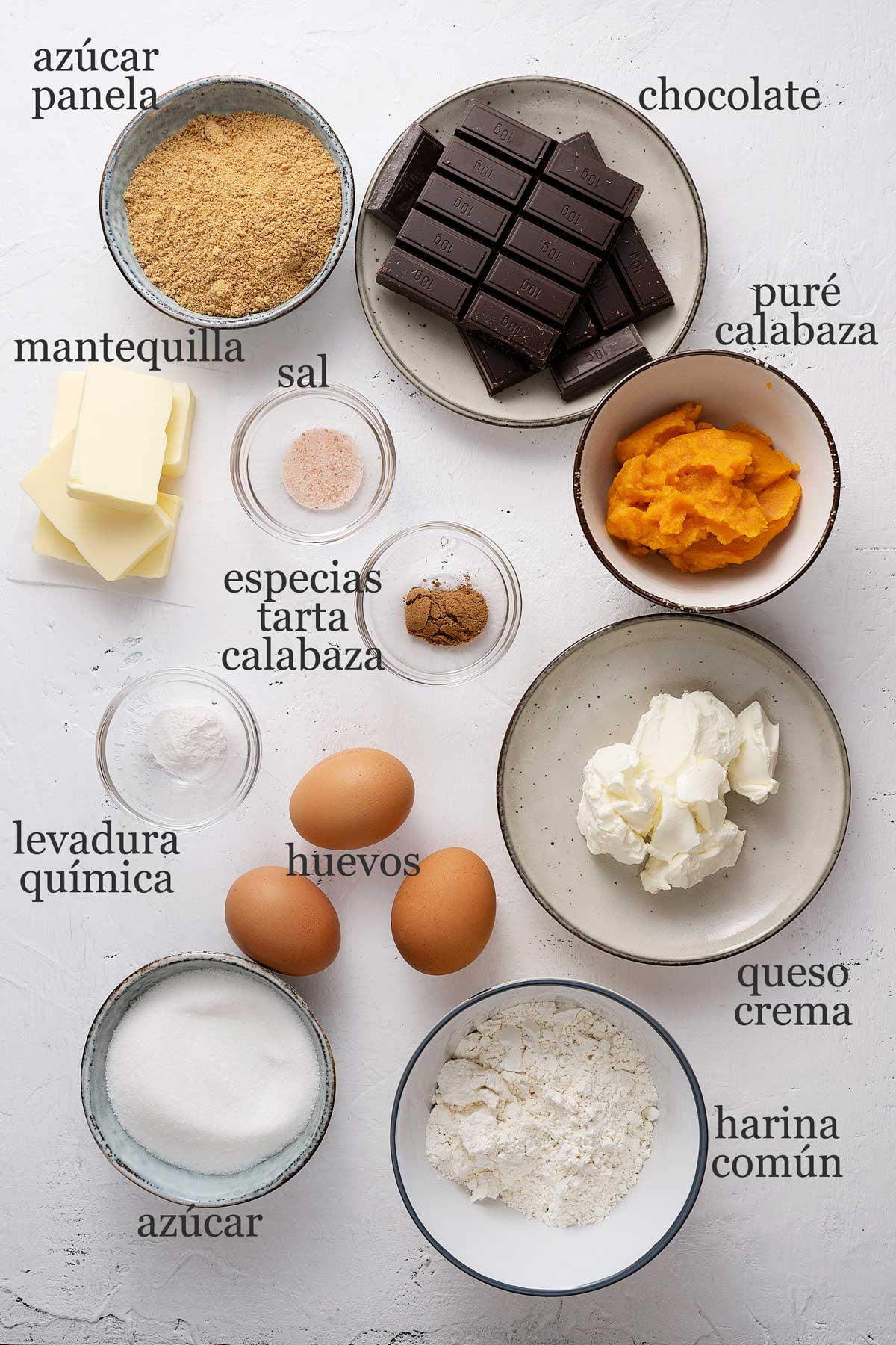 ingredientes para brownie cheesecake de calabaza.