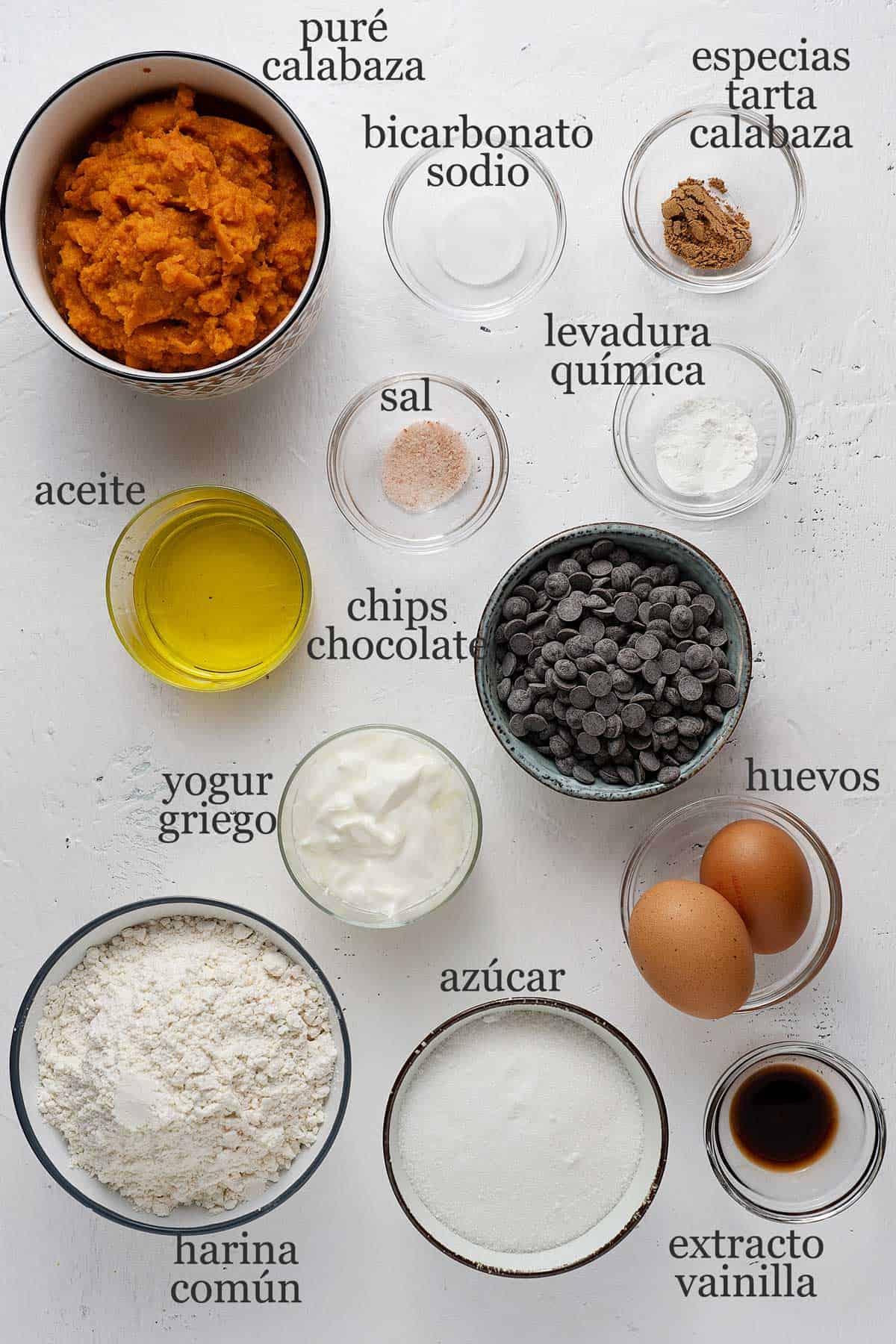 ingredientes para muffins de calabaza.