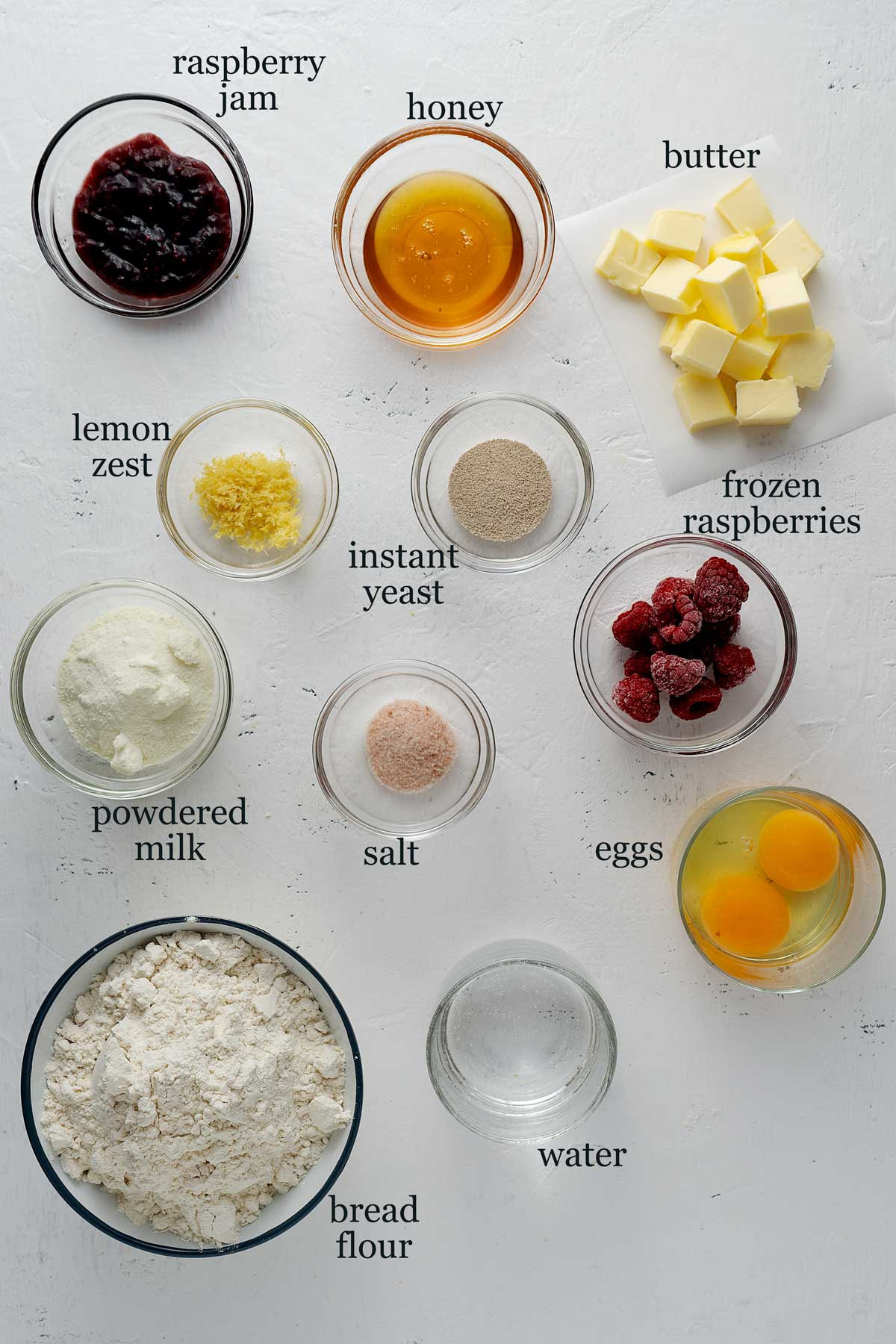 ingredients for raspberry twisted buns.