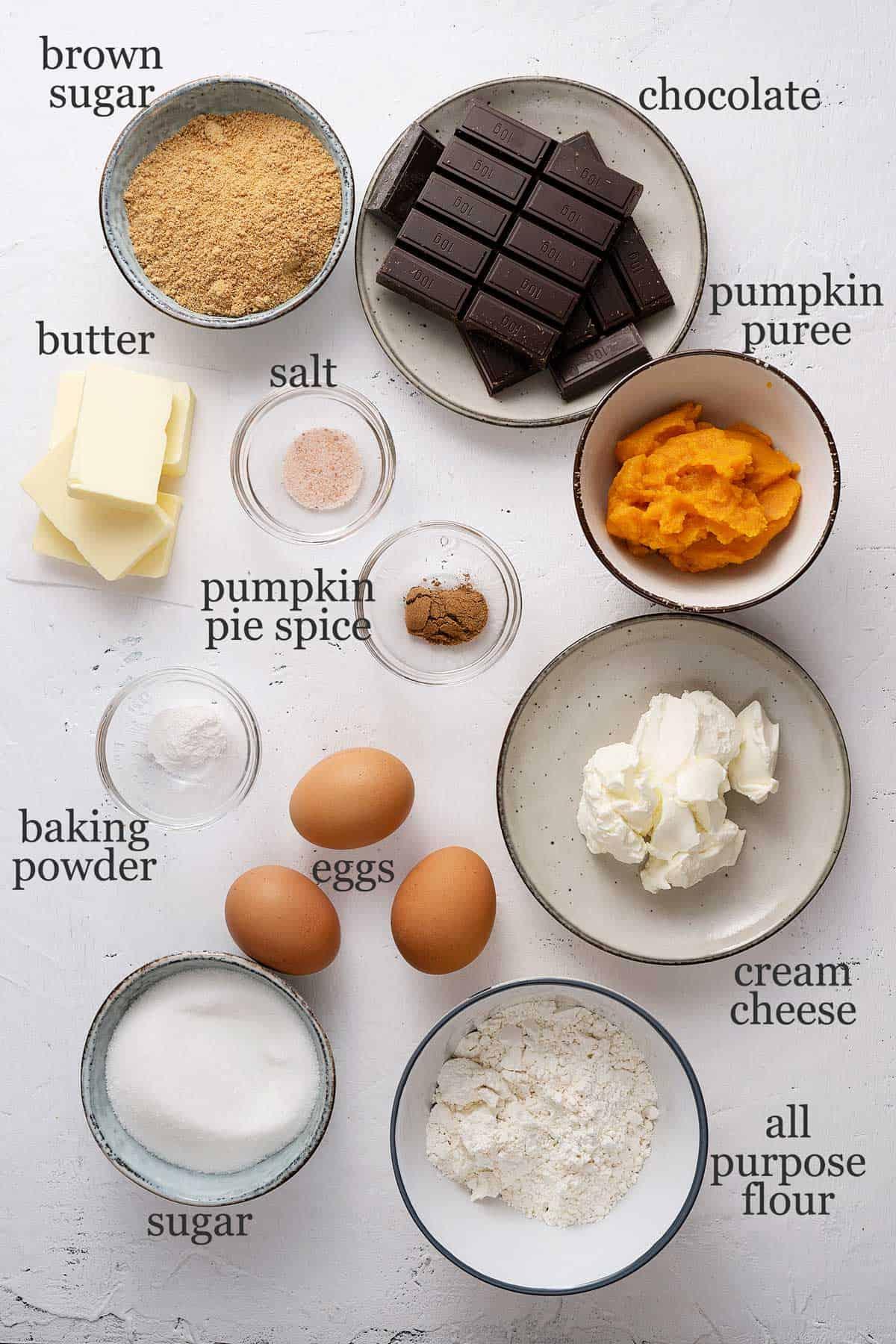 ingredients for pumpkin cheesecake brownies.