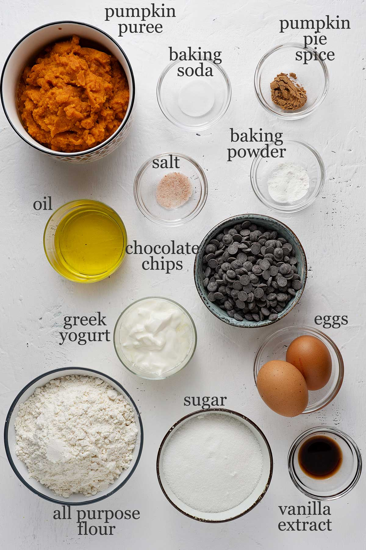 Ingredients for pumpkin chocolate chip muffins