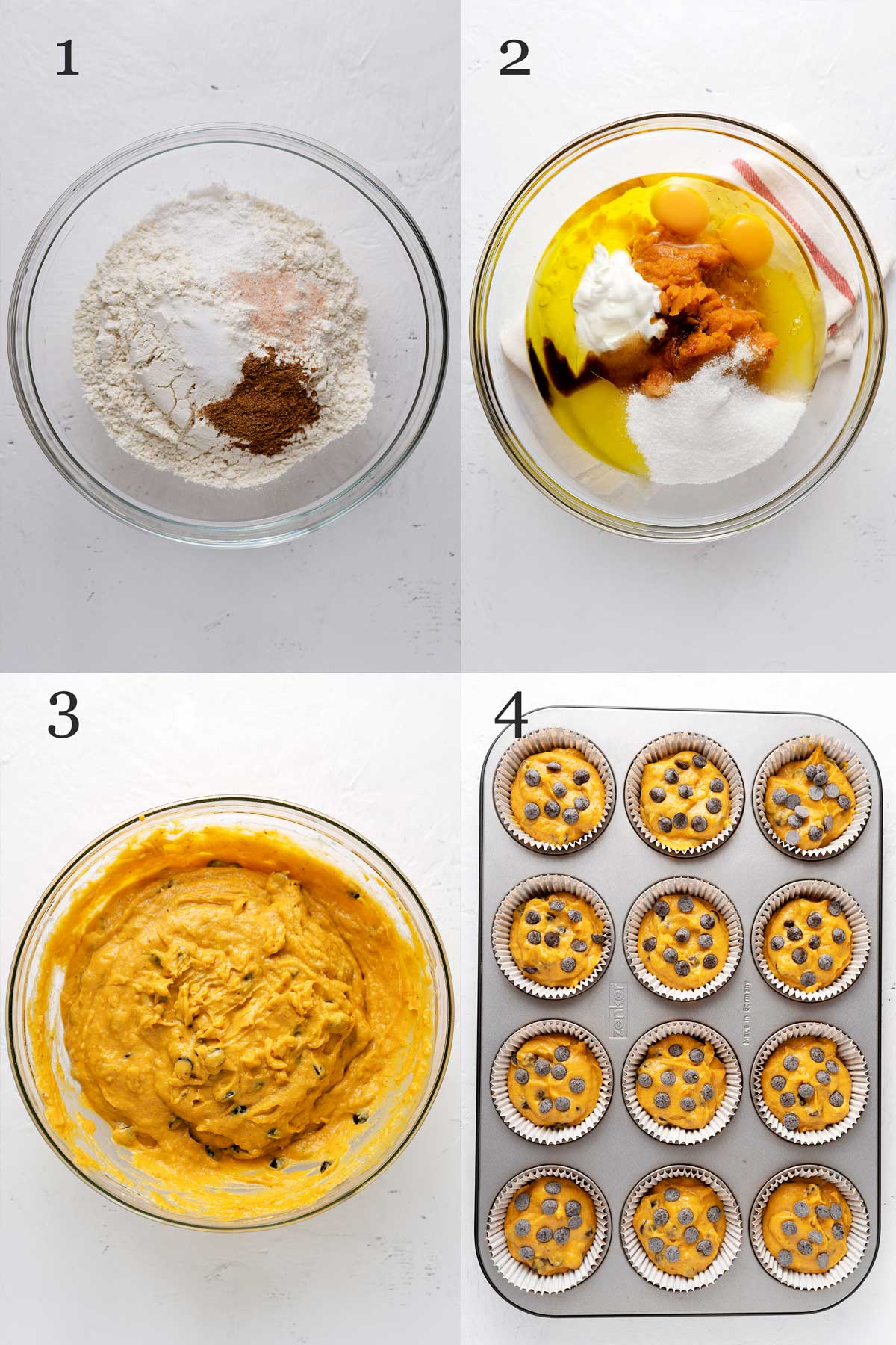 photo collage for the process of making pumpkin muffins.