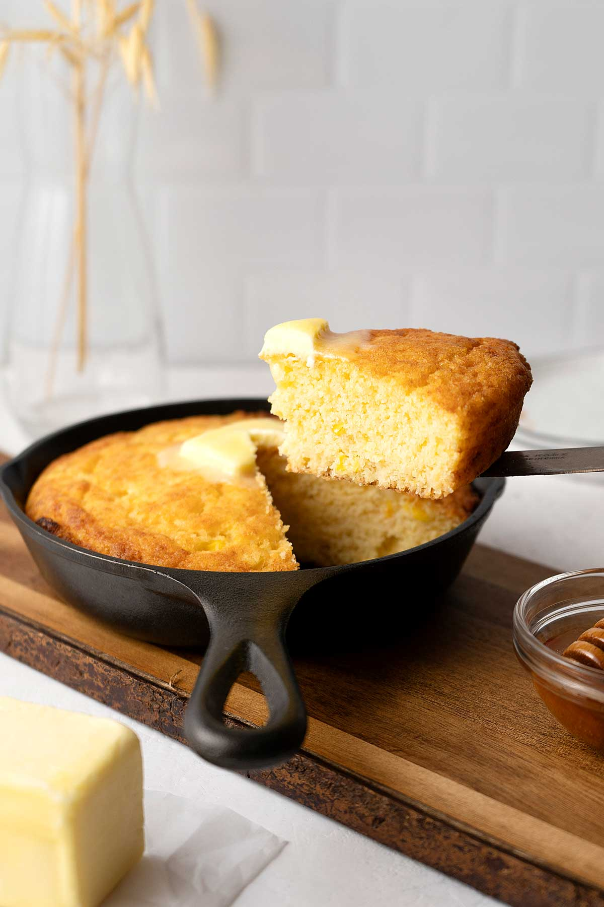 serving cornbread from the skillet.