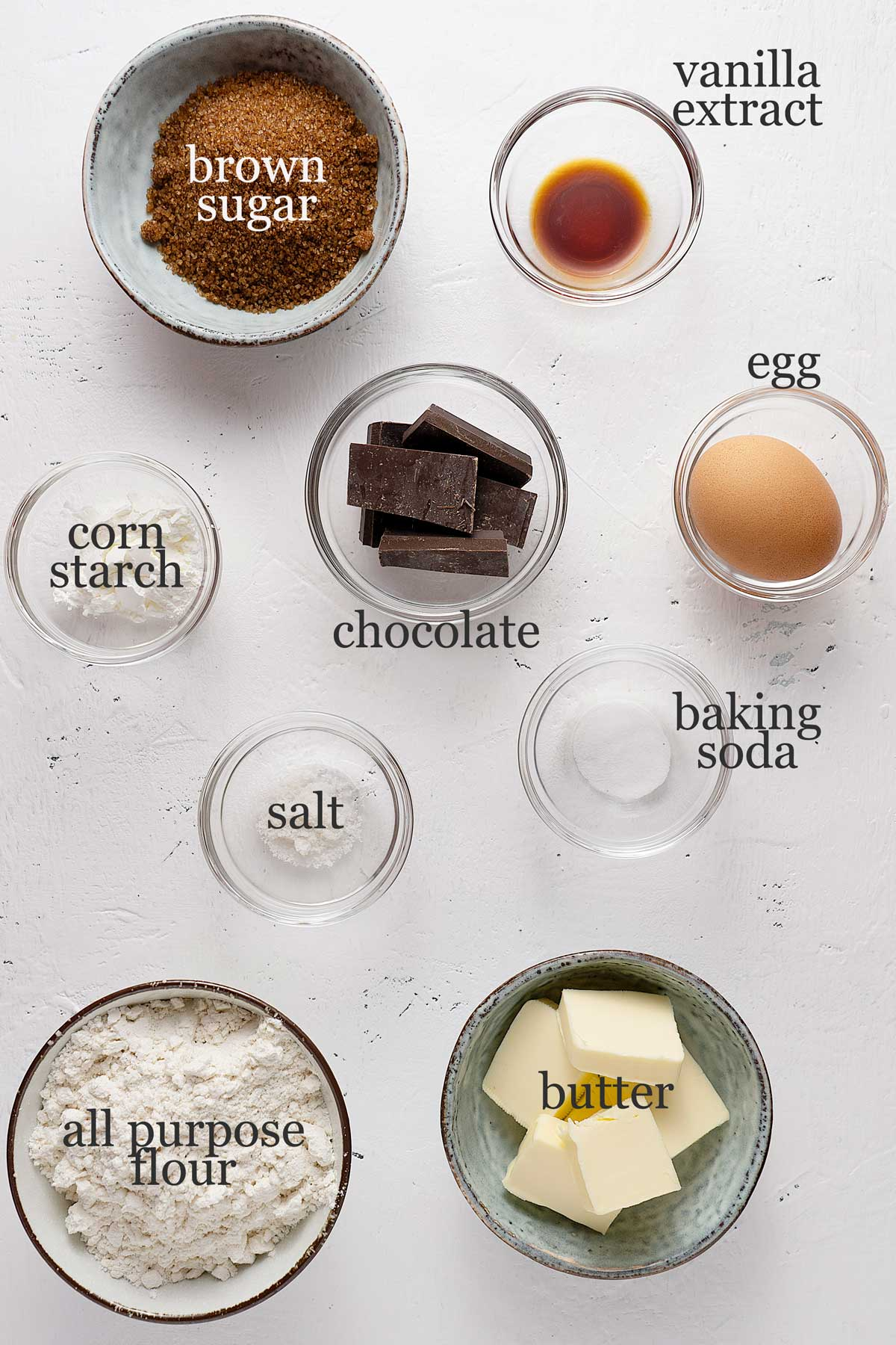 ingredients for Nutella stuffed chocolate chunk cookies