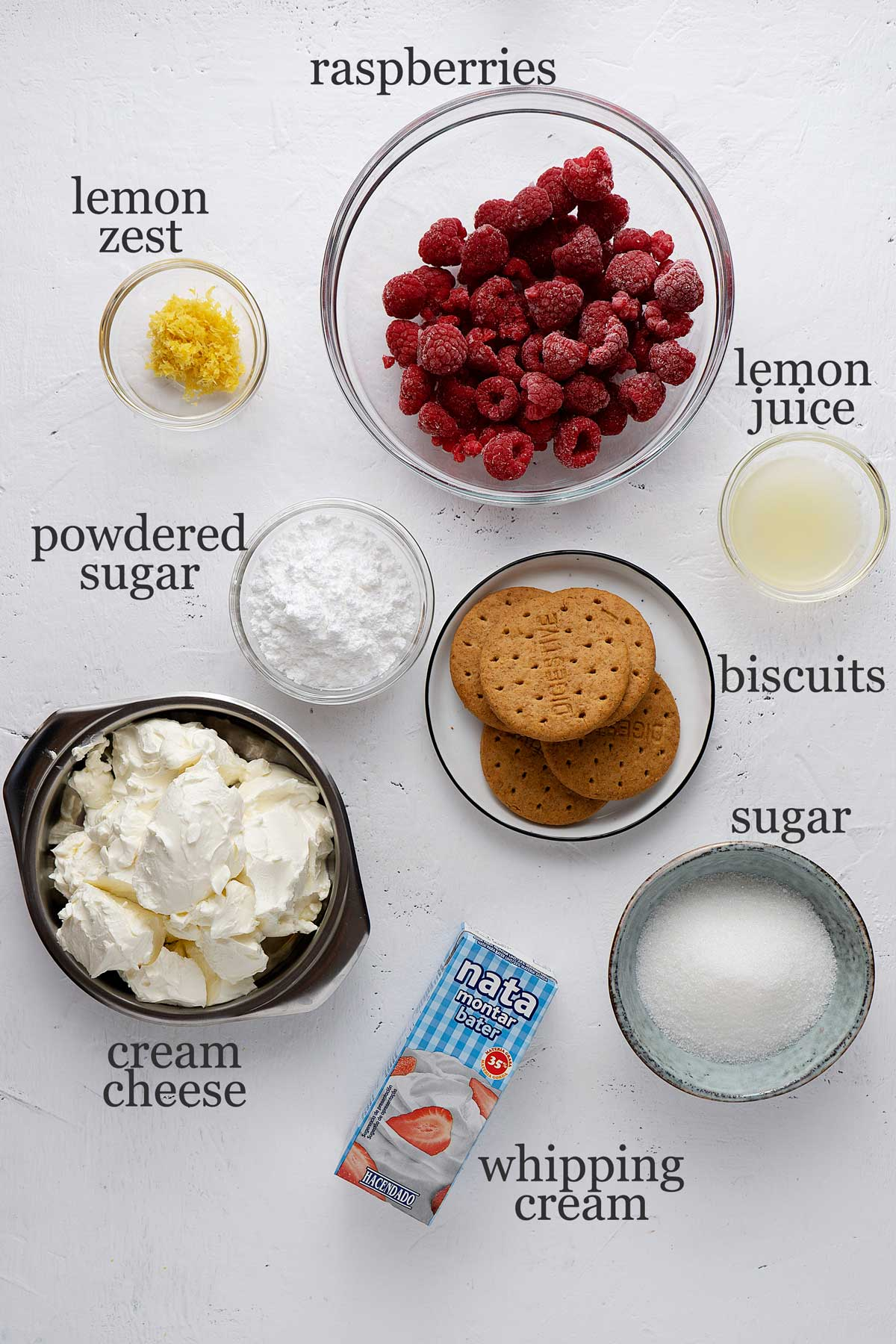 ingredients for raspberry cheesecake shots.