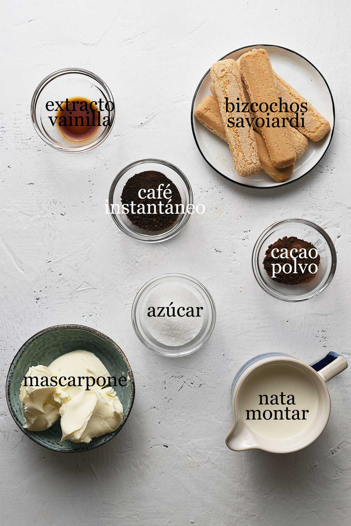 ingredientes para tiramisu sin huevo.