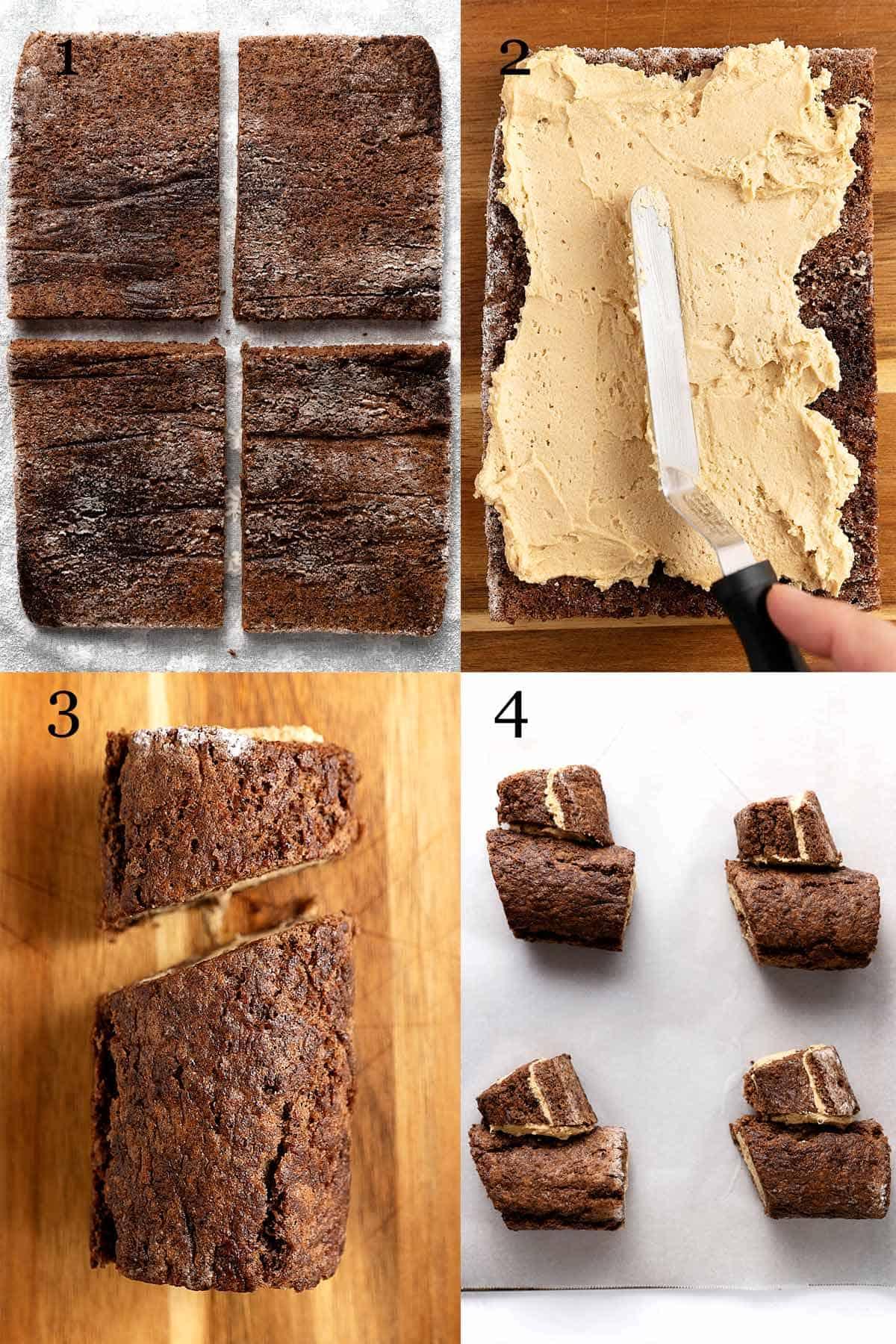 Process shots collage to make mini mocha yule log cakes.