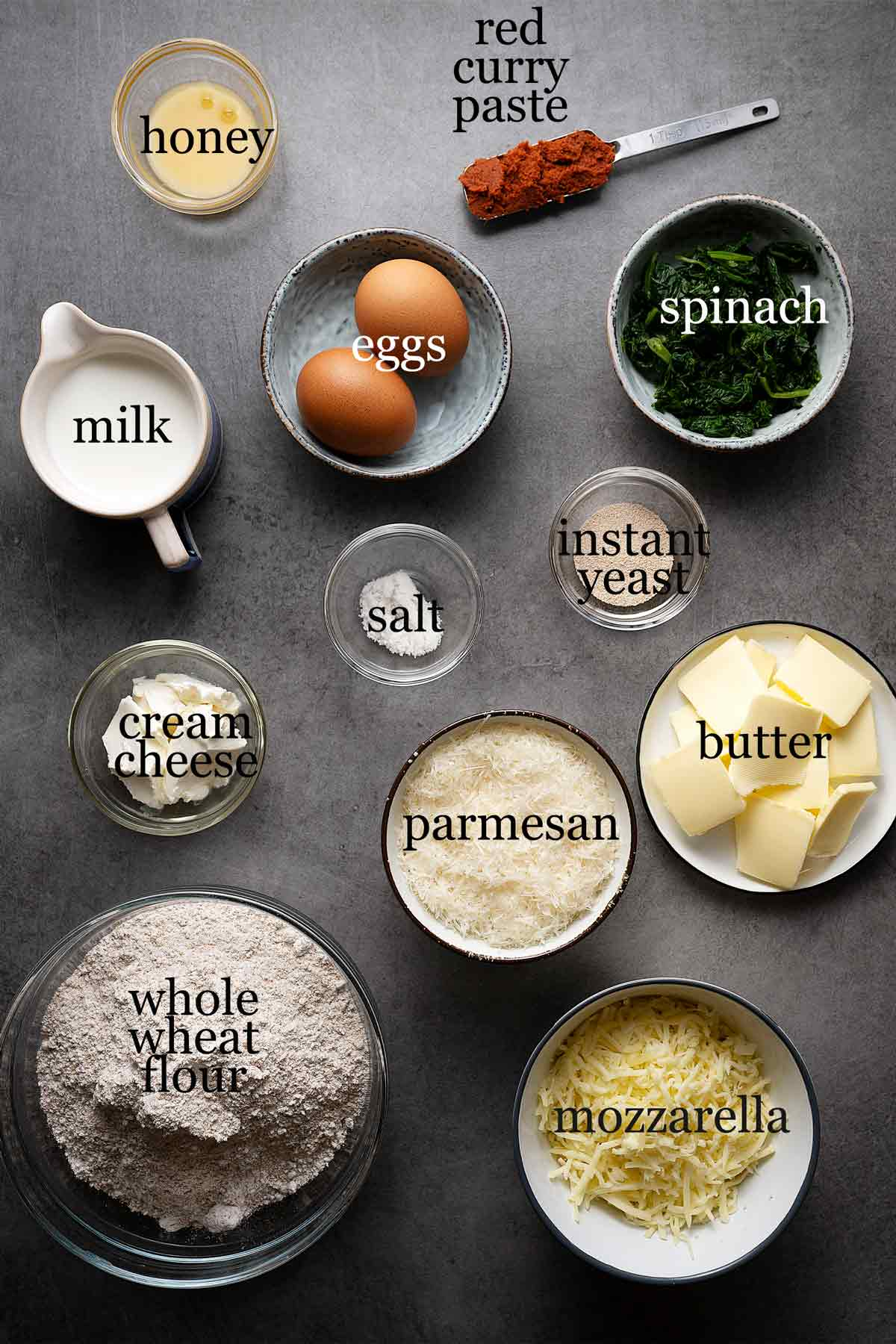Ingredients for skillet pull apart whole wheat buns