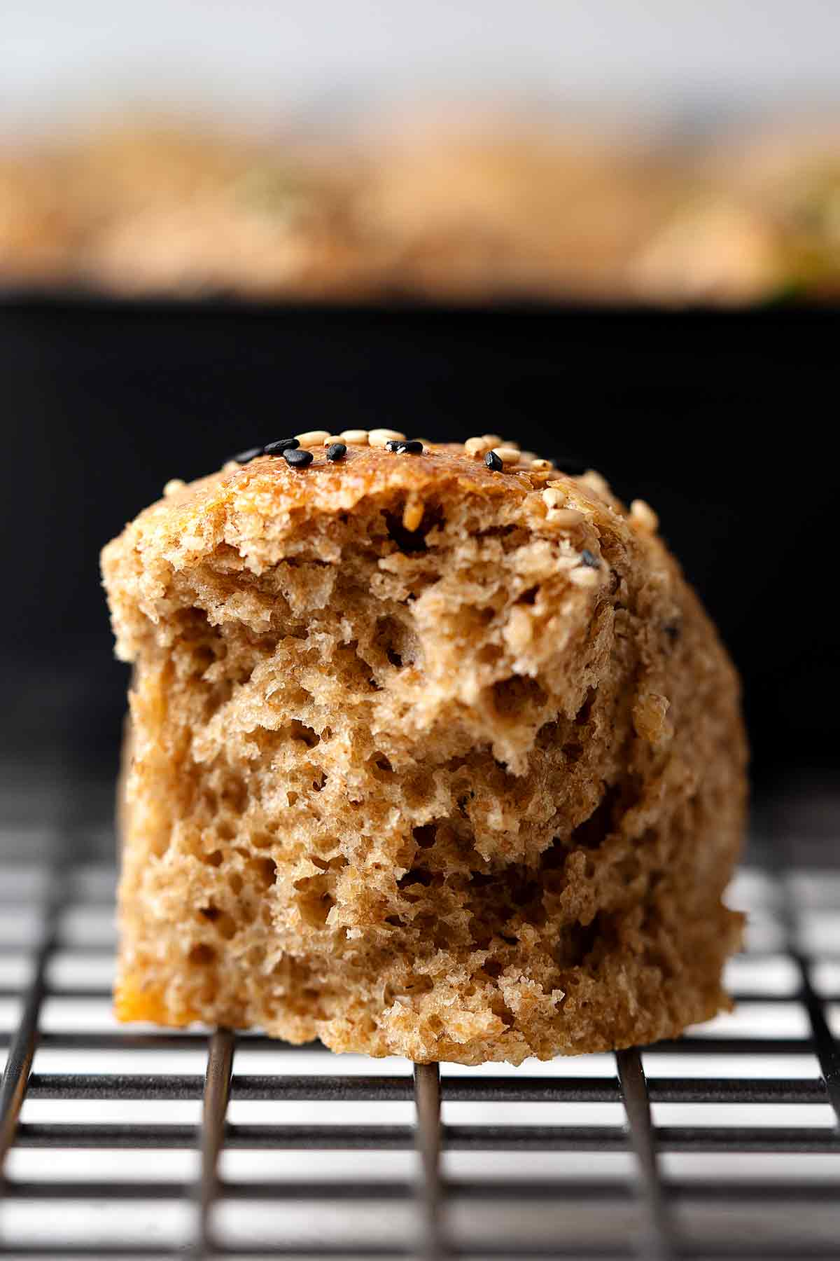 Skillet pull apart whole wheat buns crumbs texture