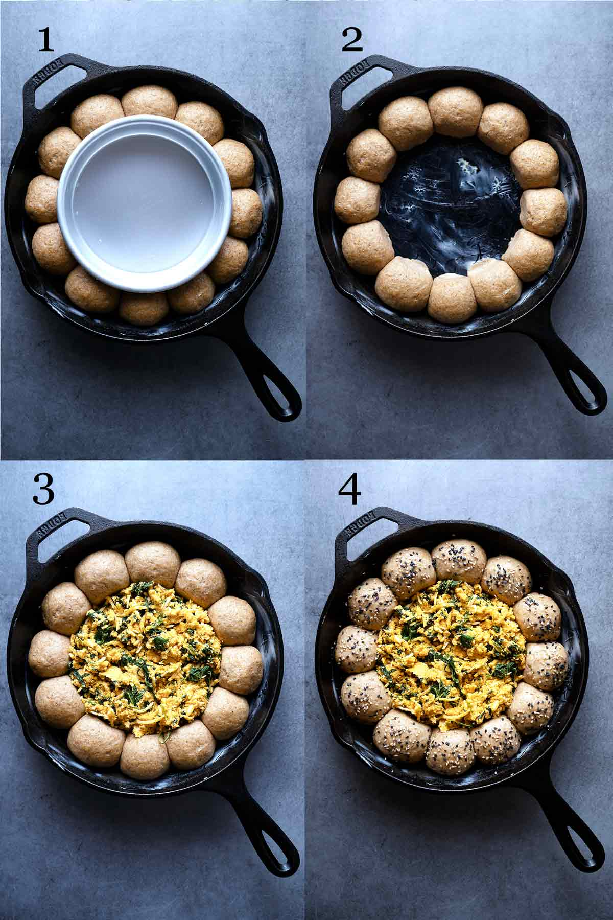 Steps for making skillet pull apart whole wheat buns