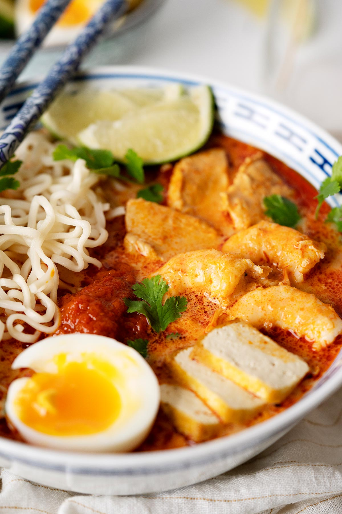 Close up of quick red curry laksa in a bowl