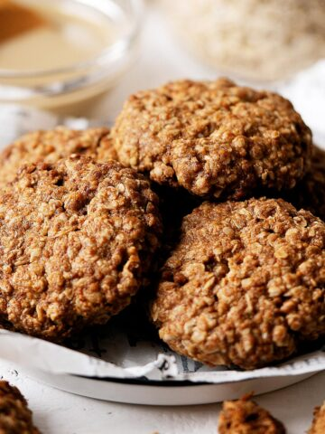 Some healthy tahini cookies on a plate