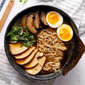 chicken ramen bowl overhead view.