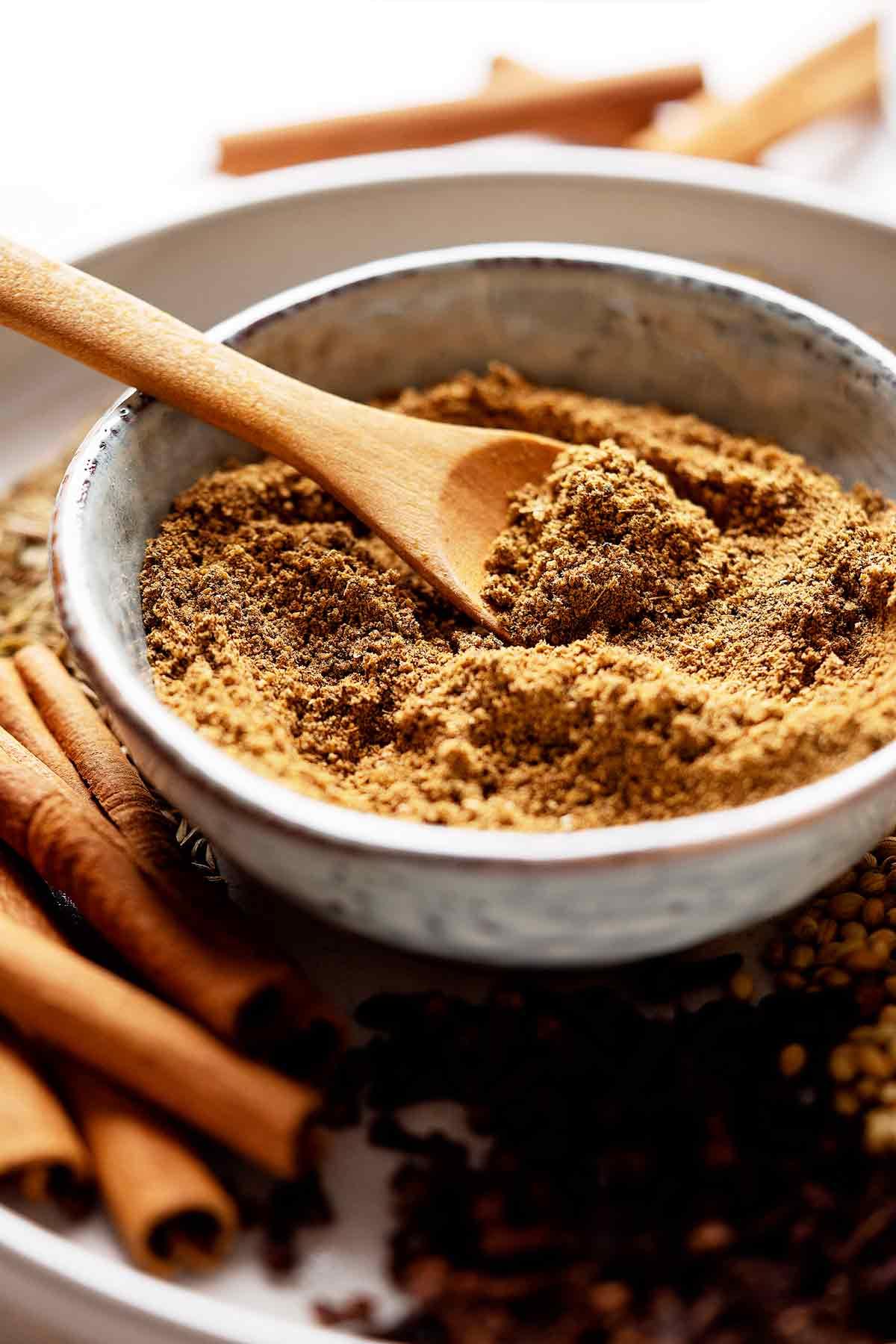 Homemade garam masala in a bowl