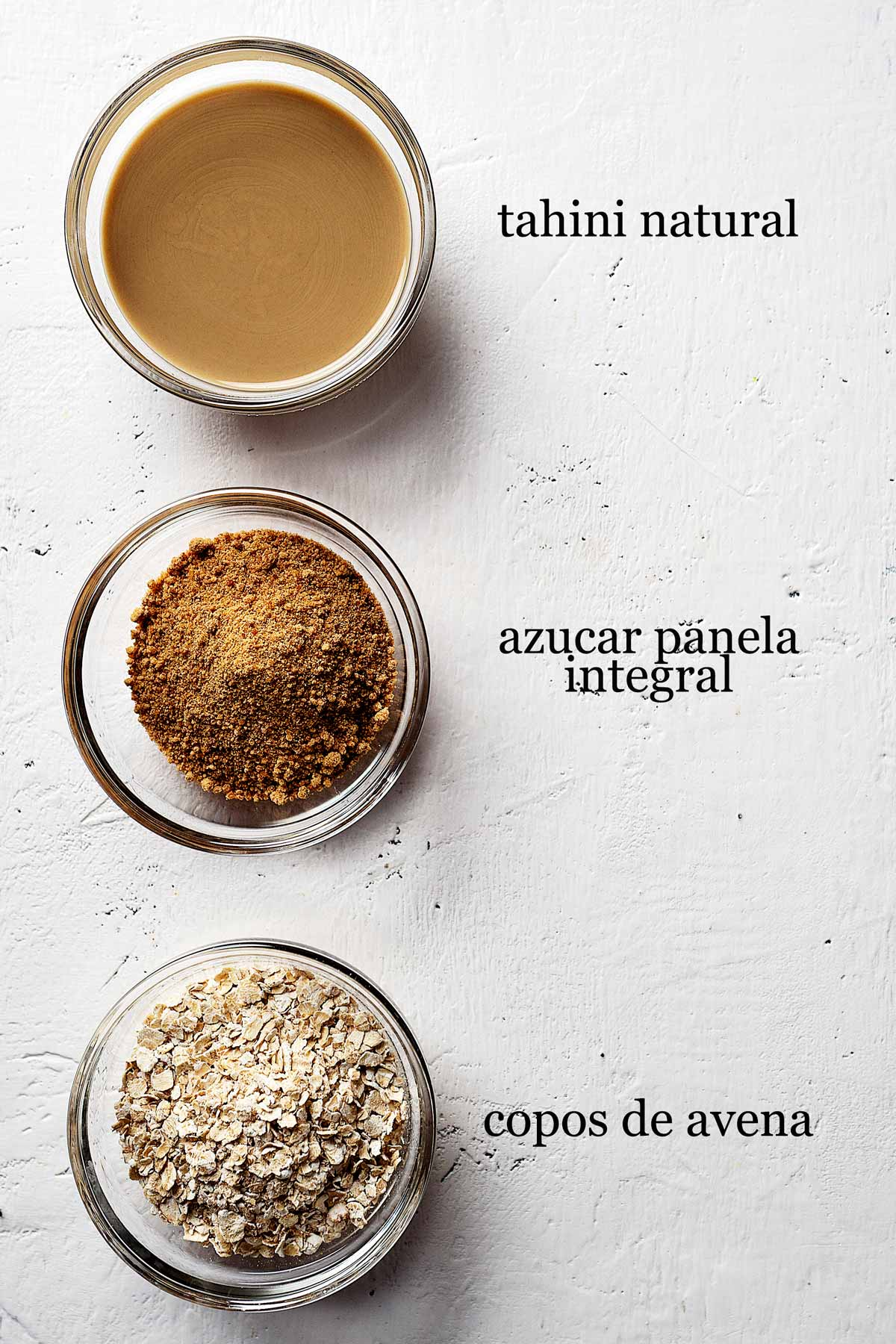 ingredientes para galletas de tahini saludables.