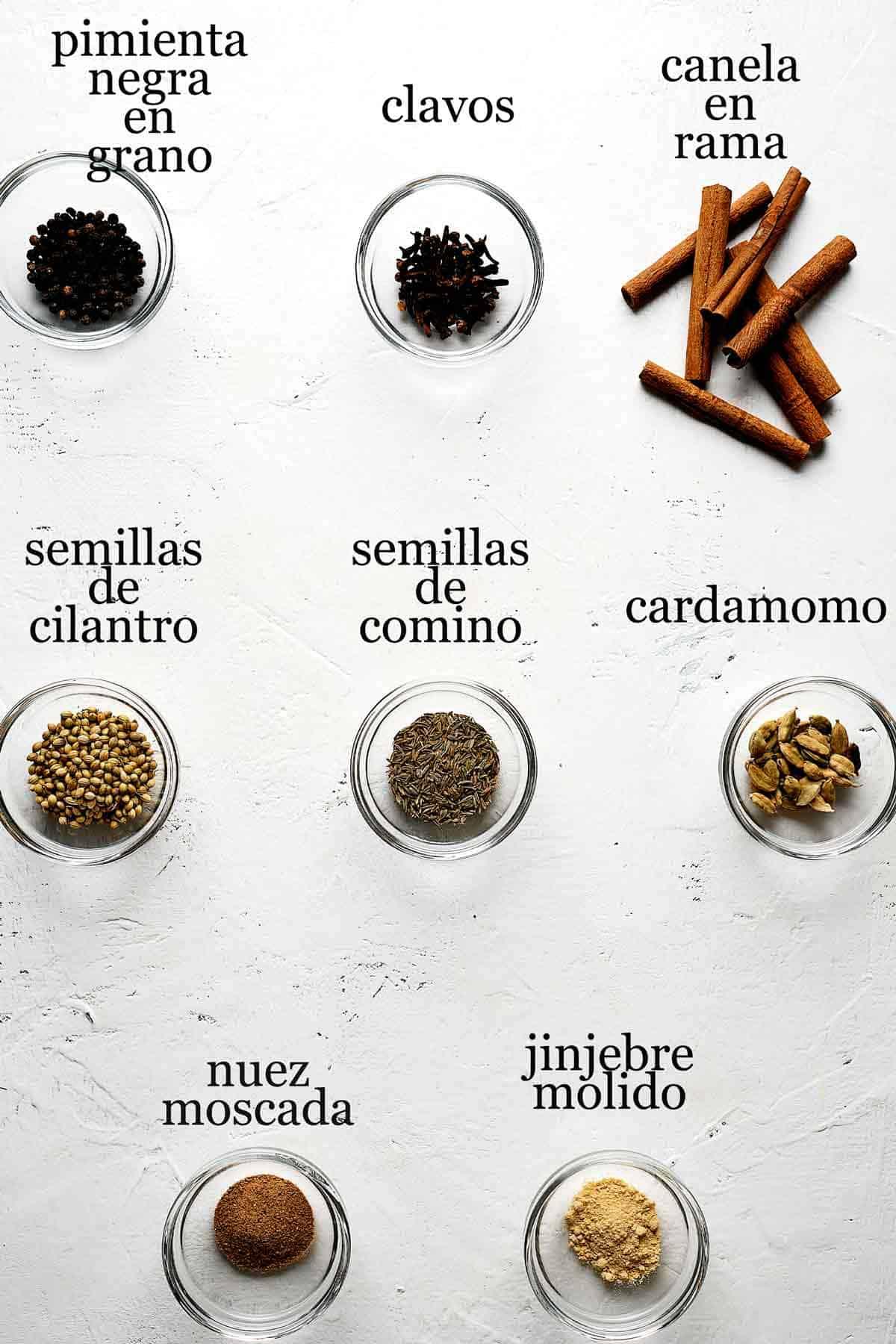 ingredientes para hacer garam masala.
