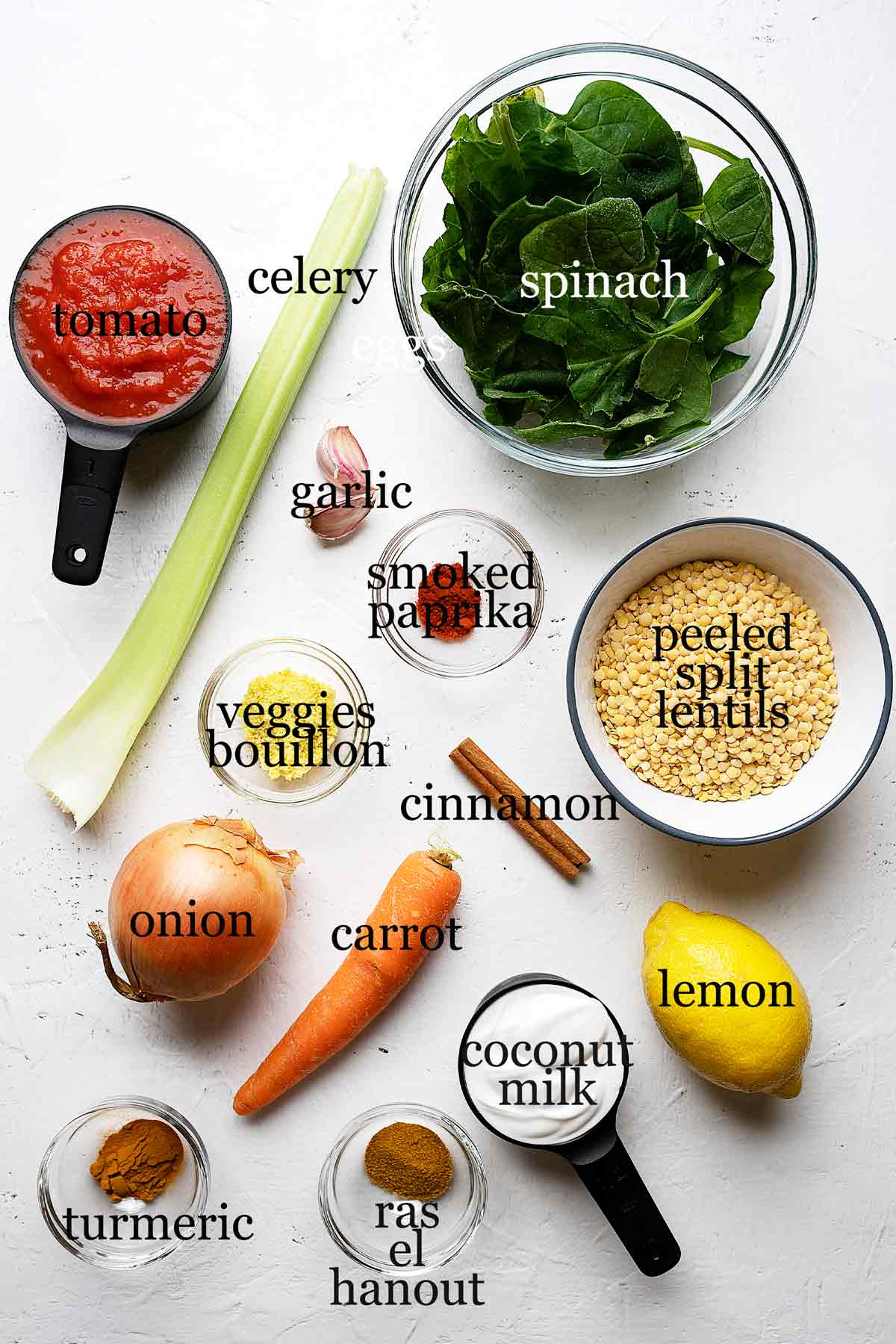 Ingredients for quick lentil coconut curry