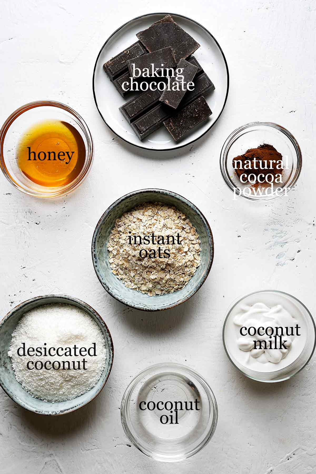 Ingredients for healthy chocolate coconut tarts
