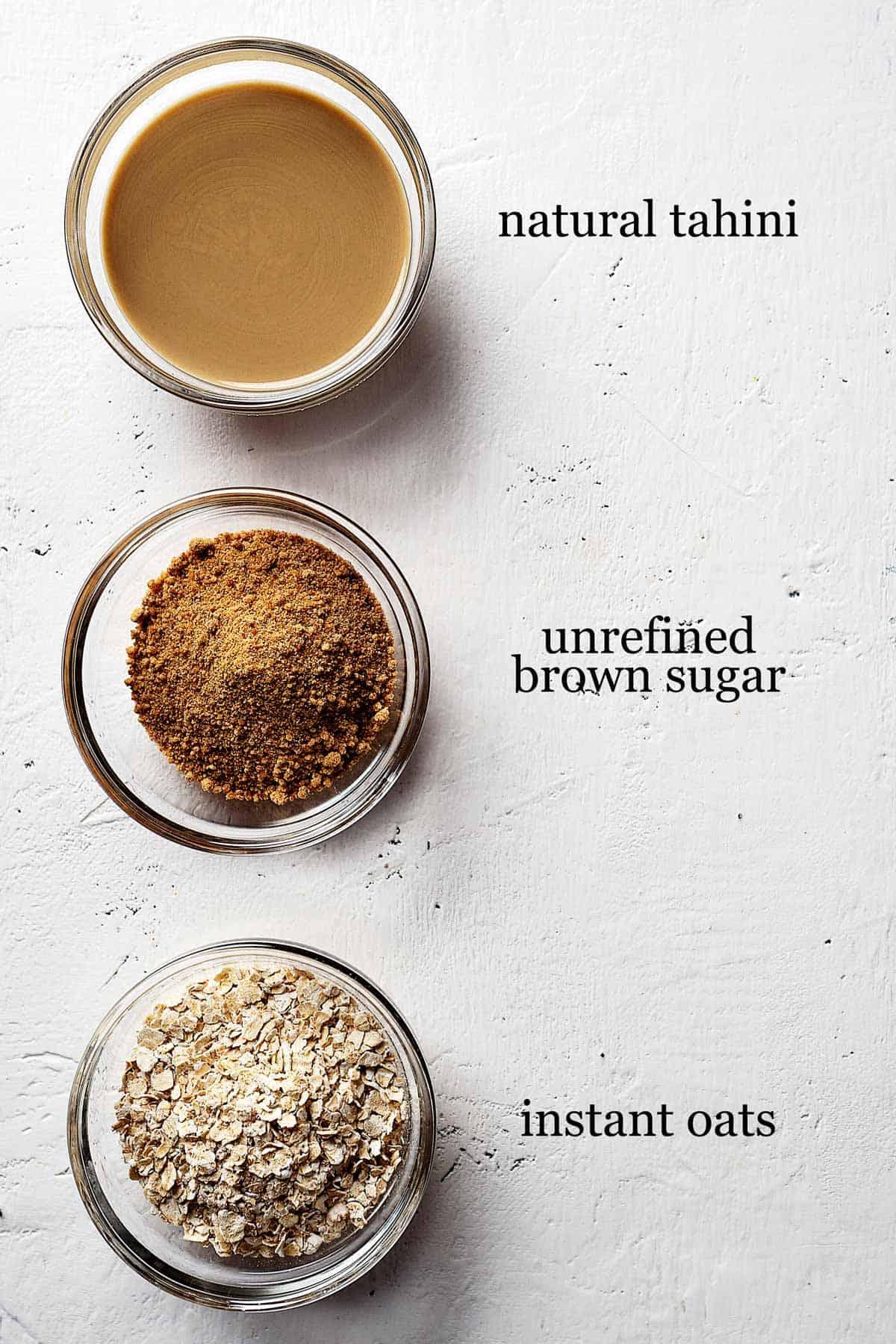 Ingredients for healthy tahini cookies