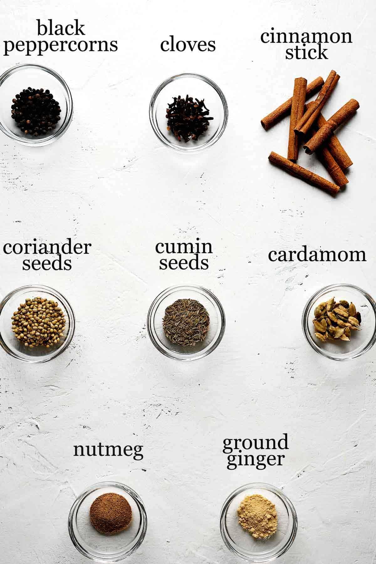 Ingredients to make homemade garam masala