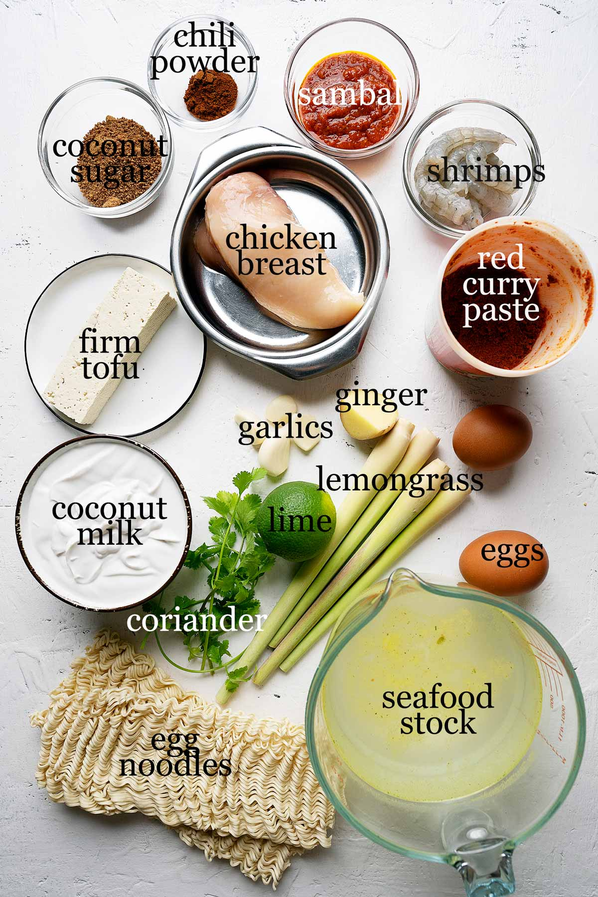Ingredients to make quick malaysian red curry laksa