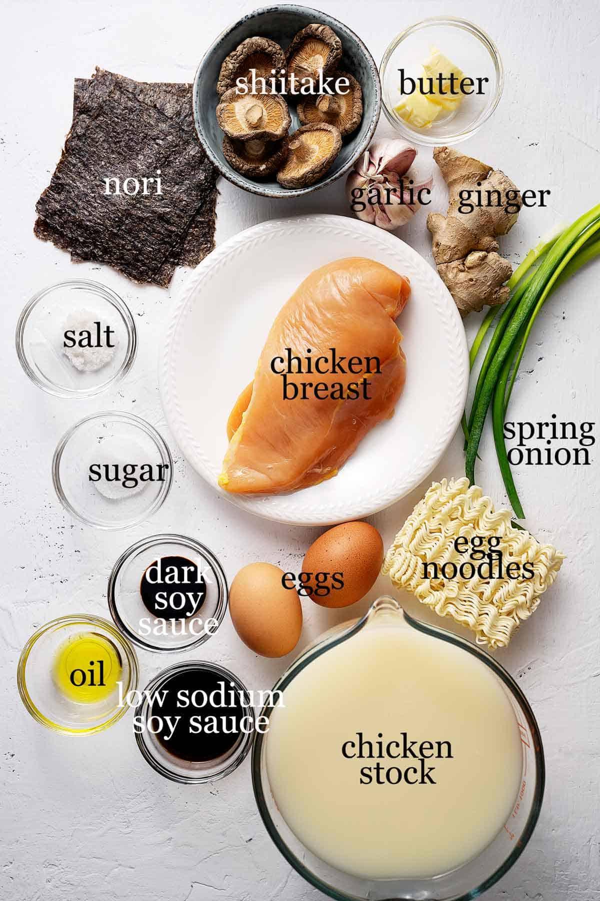 Ingredients for quick 30 minutes chicken ramen