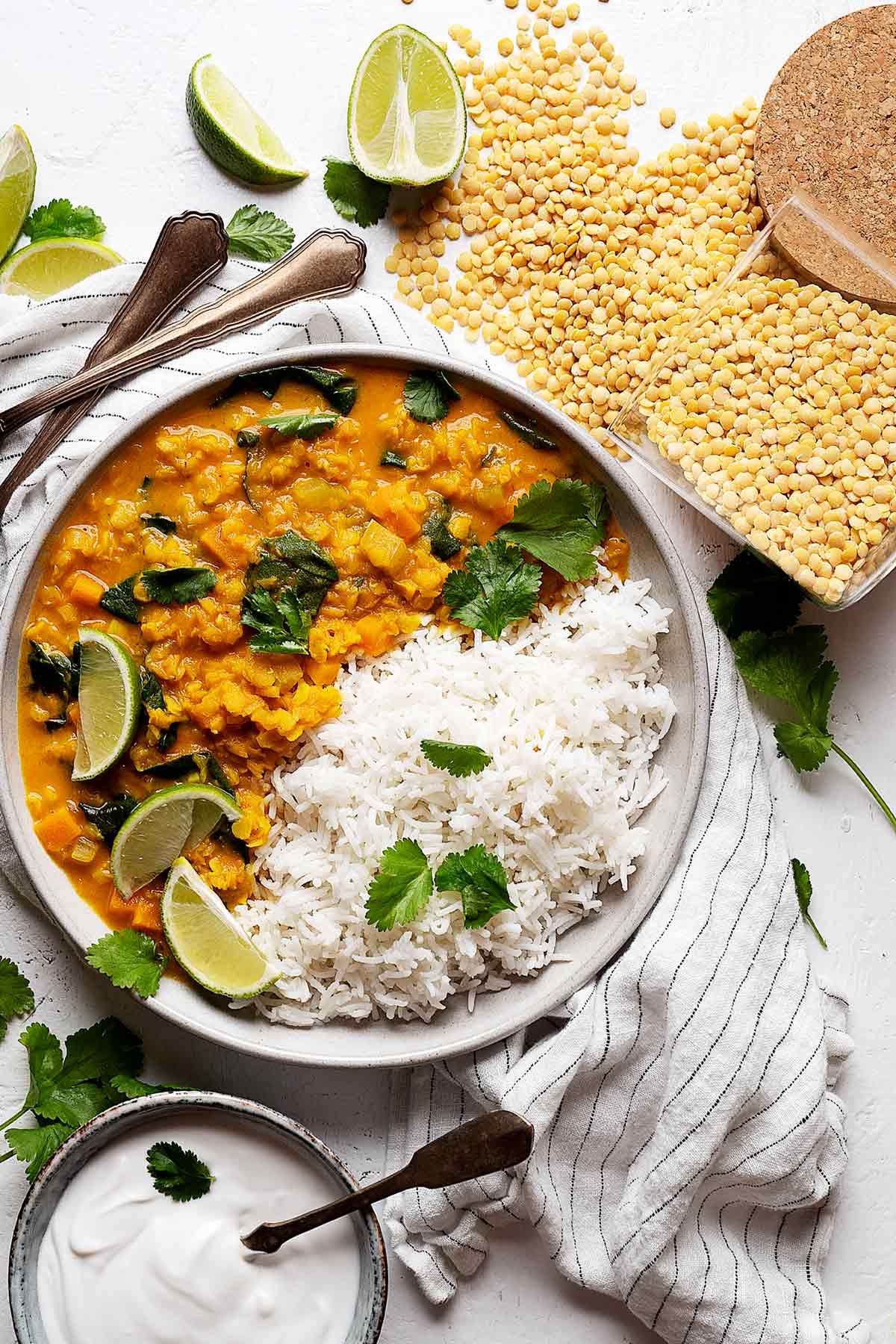 Quick lentil coconut curry view from top