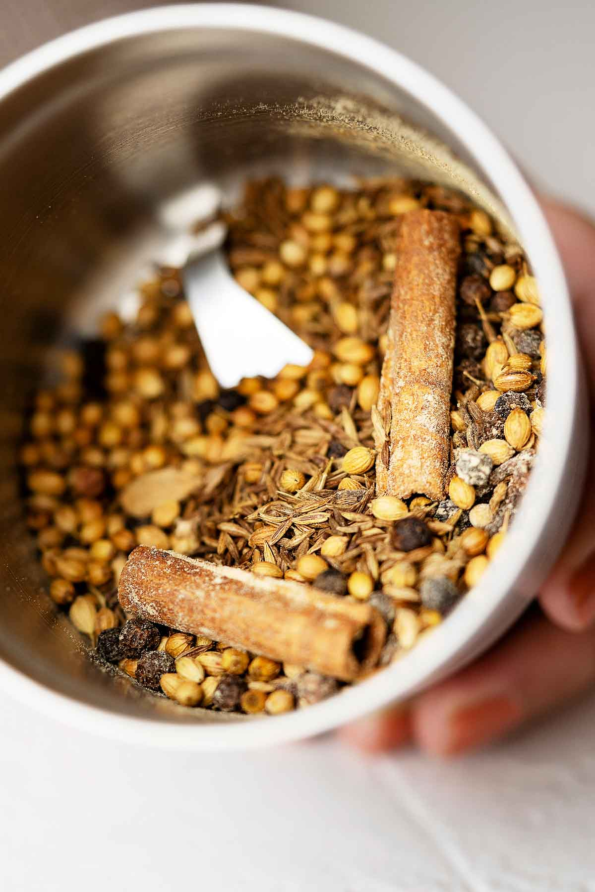 Spices for homemade garam masala in a grinder bowl