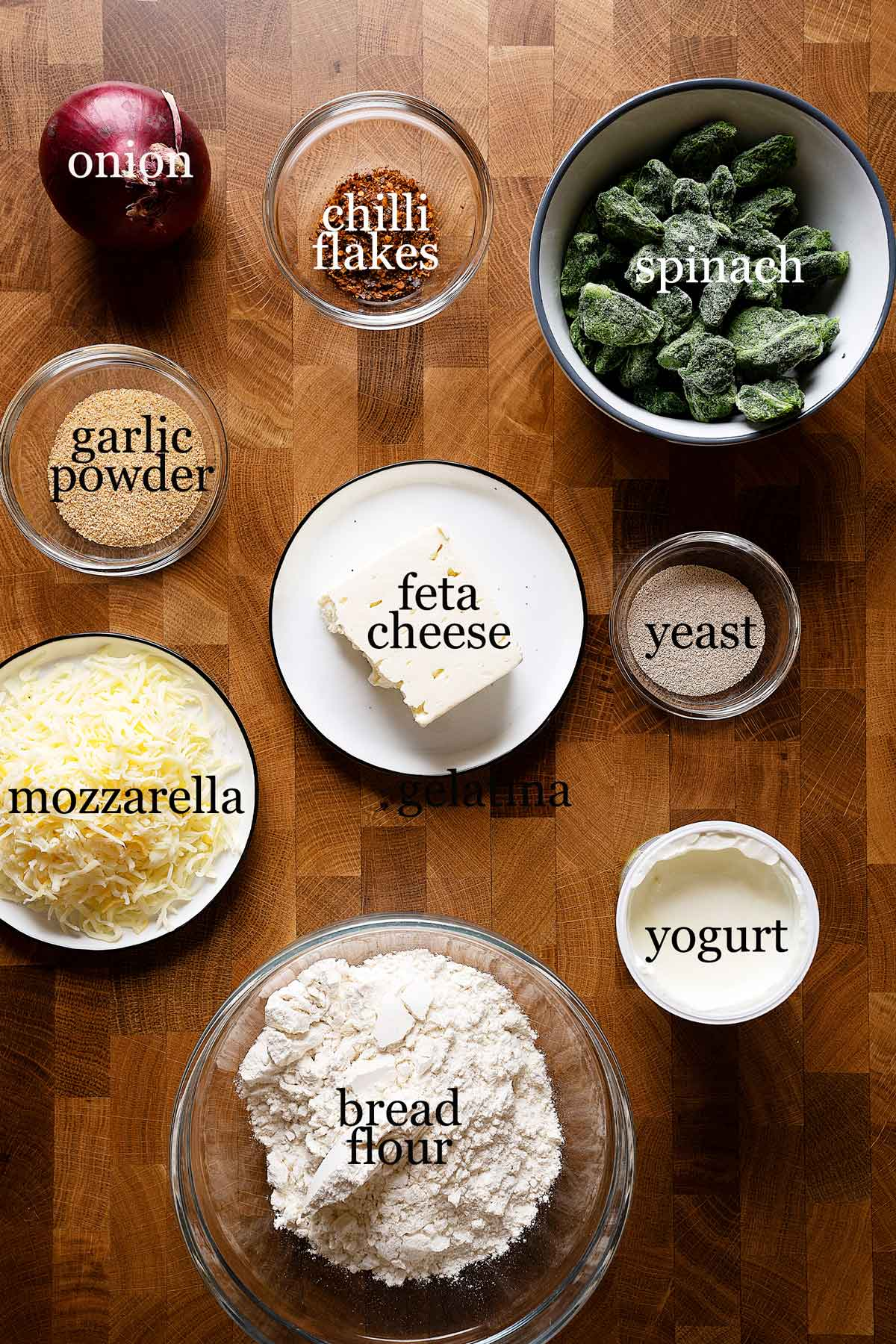 Ingredients to make spinach and feta gozleme