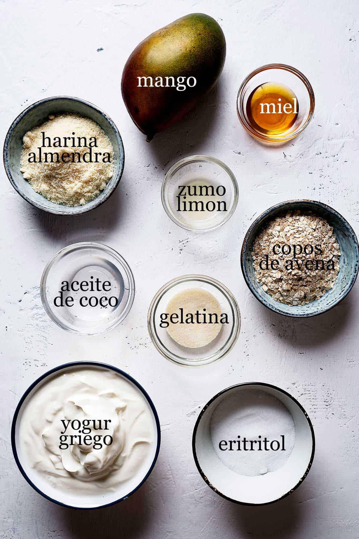 Ingredientes para hacer cheesecake de mango saludable sin horno