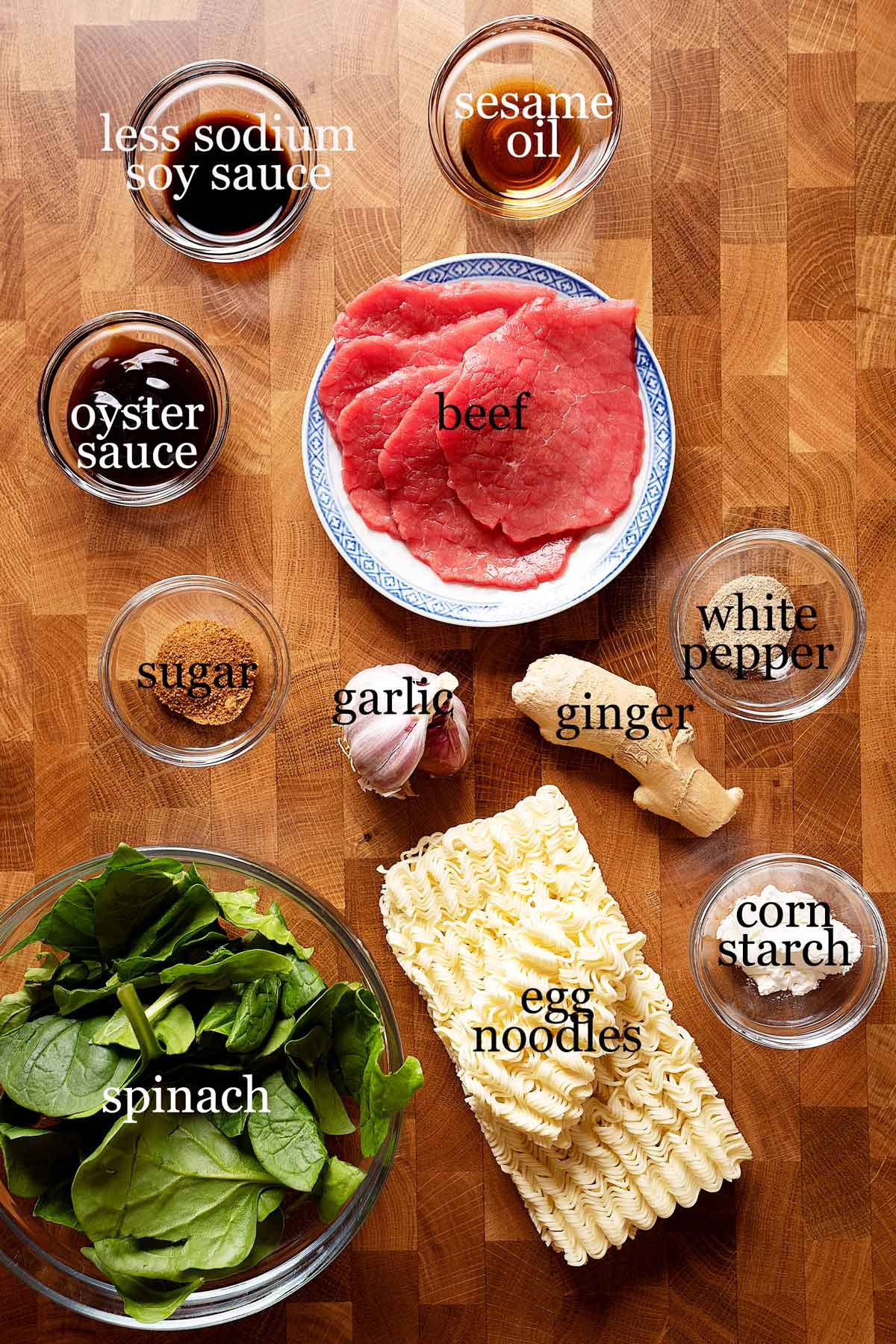 Ingredients to make 10 minute lo mein noodles with beef