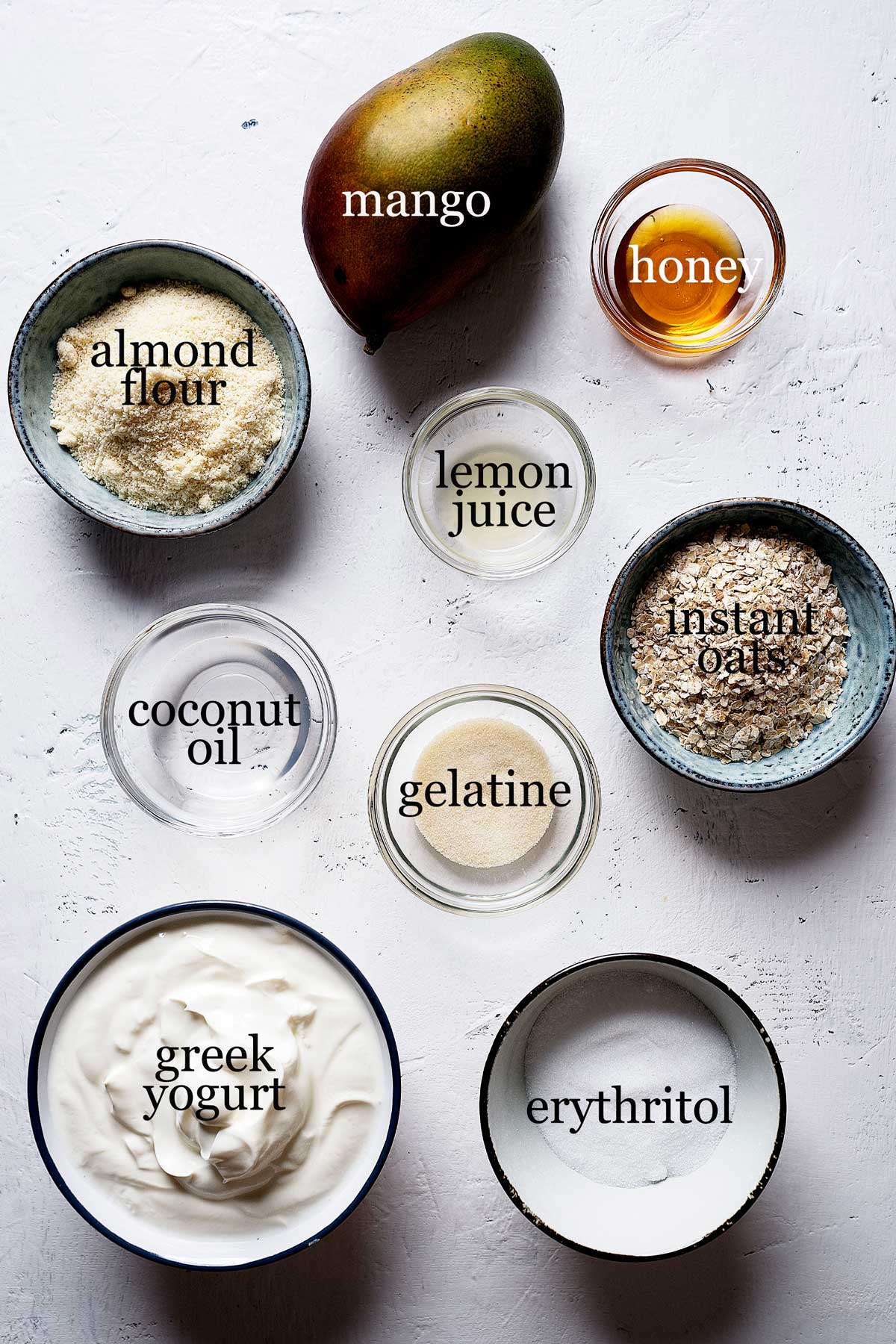 Ingredients to make healthy no bake mango cheesecake